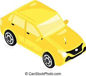 illustration., taxi jaune, vecteur, taxi