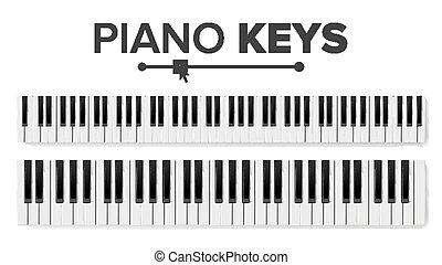 illustration., teclados, topo, isolado, almofada, vector., teclado, piano, vista