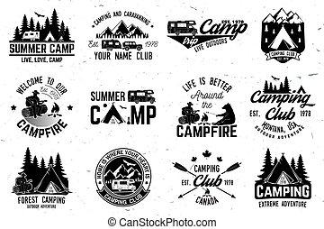 illustration., tee., vektor, eller, stämpel, camp., logo, tryck, sommar, begrepp, skjorta