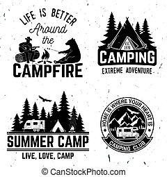 illustration., tee., vetorial, ou, selo, camp., logotipo, impressão, verão, conceito, camisa