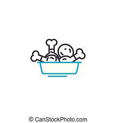 illustration., tegn, drumsticks, concept., symbol, vektor, kylling ikon, beklæde, lineære
