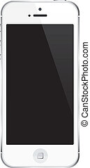 illustration., teléfono celular, iphone, vector, teléfono, blanco, :, elegante