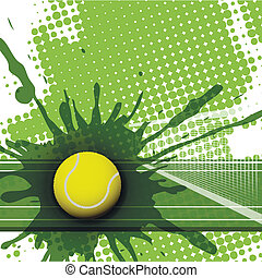tennis - illustration, tennis ball on abstract green ...