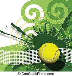 tennis - illustration, tennis ball on abstract green ...