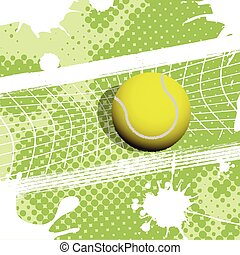 tennis - illustration, tennis ball on abstract green...