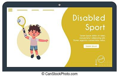 illustration, tennis jouant, vecteur, bannière, gosse, handicapé