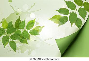 illustration., természet, eredet, leaves., vektor, zöld háttér