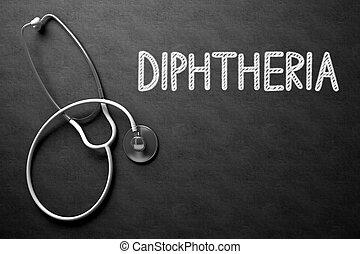 illustration., testo, -, diphtheria, chalkboard., 3d