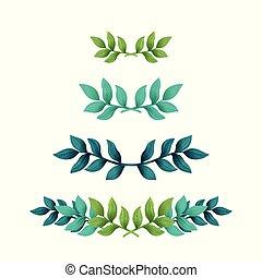 illustration., testo, divisori, leaves., tropicale, borders., vettore, floreale, o