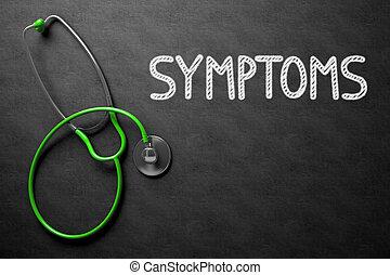 illustration., testo, -, sintomi, chalkboard., 3d