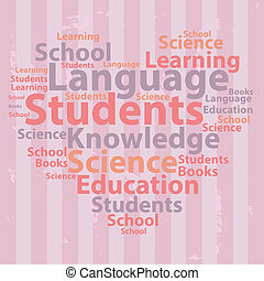 illustration., texte, concept., typographie, vecteur, wordcloud., cloud., education