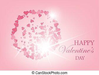 Illustration, texte, valentin, jour,  élégant,  s, vecteur, endroit, fond, cœurs, rouges