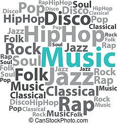 illustration., texto, concept., etiqueta, vector, música, ...