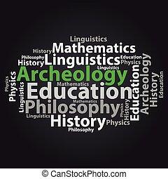 illustration., texto, concept., tag, vetorial, wordcloud., cloud., educação
