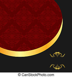 Illustration the black gold red invitation frame for elegant design - vector