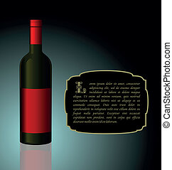 Illustration the elite wine bottle with red blank label