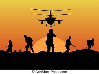 Illustration, the soldiers going to attack and helicopters. .eps