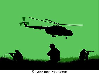 Illustration, the soldiers going to attack and helicopters. [].eps