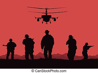 Illustration, the soldiers going to attack and helicopters..eps