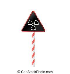 Illustration the warning symbol of radioactive hazard on road striped sign - vector