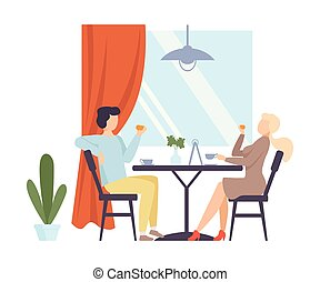illustration., thee, man, cafe., vrouw, drinkt, vector