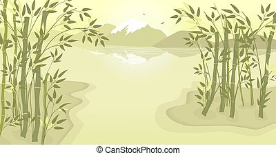 illustration., thickets, 鳥, 湖, 茎, colors., 山, 風景, ベクトル, river., leaves., 上に飛びなさい, 距離。, 竹, 2, 明るい, ∥あるいは∥, 山。