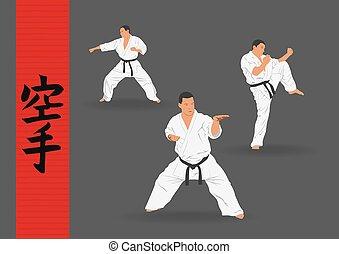Illustration, three men demonstrate karate on a dark...