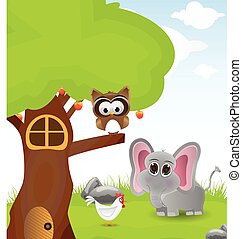 Illustration three with few animal
