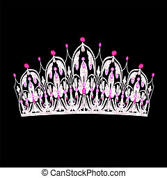tiara women's wedding with pink precious stones - ...