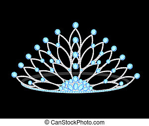 tiara women's wedding with precious stones on the black -...