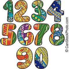 illustration, toile, éléments, elements., t-shirts, griffonnage, autre., collection, booklets, conception, textile, boîte, utilisé, vecteur, nombres, zentangle, impression, être, cartes, set.