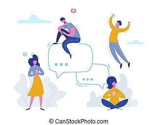 illustration, toile, concept, bavarder, professionnels, téléphones, commercialisation, group., matériel, gestion réseau, communauté, présentation, vecteur, conception, média, caractères, ligne, social, publicité, bannière