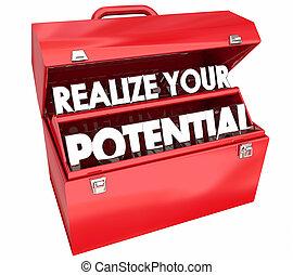 illustration, ton, compétence, 3d, talent, formation, boîte outils, realize, potentiel
