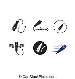 illustration, tondeuse, conception, électrique, icône, vecteur