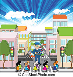 illustration, town street and children on pedestrian crossing
