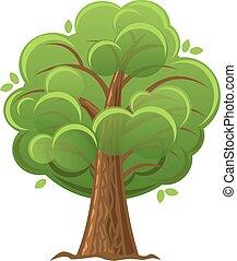 illustration., träd, oaktree, vektor, grön, foliage., tecknad film, frodig
