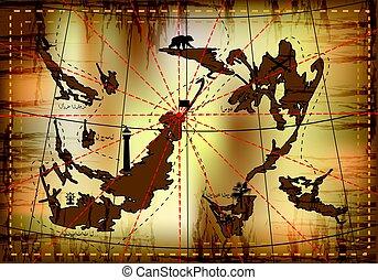illustration, trésor, map., vecteur, conception, ton
