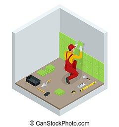 illustration., trabajador, cerámico, vector, paredes, instalación, azulejos, pequeño, trowel., cuarto de baño, home., mortero, ser aplicable, isométrico, colocar