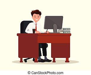 illustration., trabalhador escritório, atrás de, vetorial, desktop., homem
