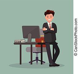 illustration., trabalhador escritório, vetorial, desktop., homem