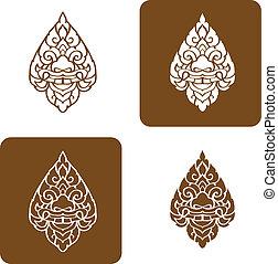 illustration., tradicional, vector, artístico, línea, tailandés