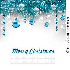 Traditional Glowing Background with Christmas Decoration