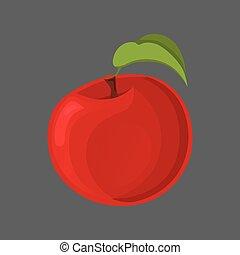 illustration., tranches, apple:, fruit., cuisine, moitié, vecteur, mordu, entier, rouges