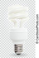 illustration., transparent, arrière-plan., lampe, vecteur, powersave