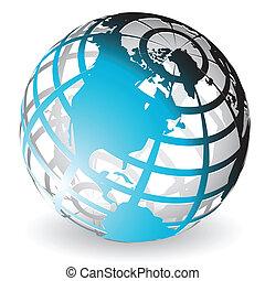 Illustration, transparent blue globe on white background
