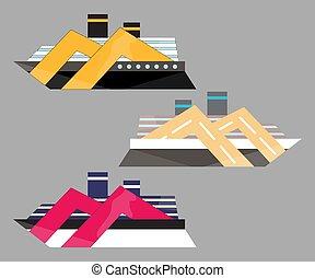 illustration, transport eau, icône, bateau, bateau, croisière, liner., voyage, version, mer, vessel., plat, vecteur
