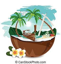 travel summer on the beach. - illustration. travel summer on...