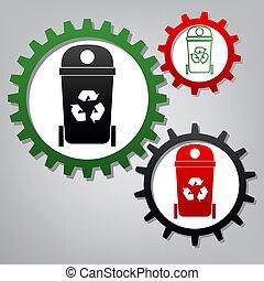 illustration., tre, segno, collegato, ingranaggi, vector., trashcan