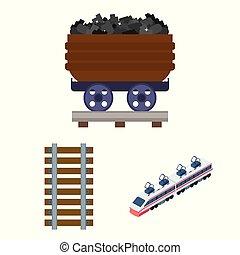 illustration., trem, ilustração, vetorial, cobrança, maneira, ferrovia, sinal., estoque