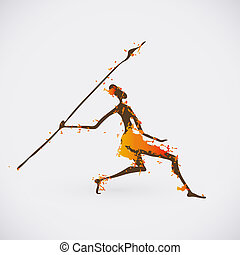 illustration., tribal, chasseur, symbole., créatif,...